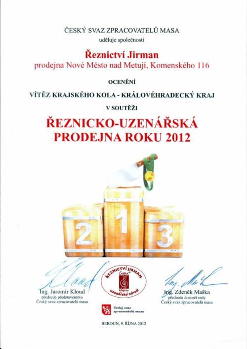 Ocenění prodejna roku 2012